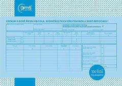 Záznam o době řízení vozidla a bezpeč. přestávkách A4, číslovaný, 100 listů OP1166