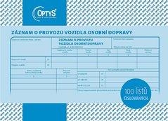 Záznam o provozu vozidla osobní dopravy A5, číslovaný, 100 listů OP1177