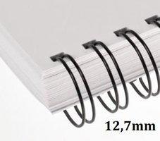 Hřbet kroužkový drátěný  3:1, 12,7mm, černý,      pro 81-100listů, 1ks/100