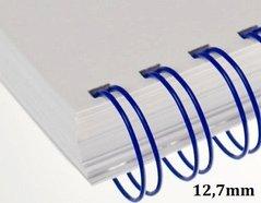 Hřbet kroužkový drátěný  3:1, 12,7mm modrý             pro 81-100listů, 1ks/100