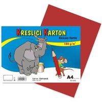 Kreslící karton A4/180g/50 červená 141017