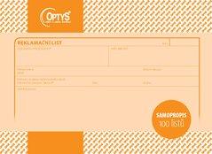 Reklamační list A5, samopropisovací, 100 listů OP1254