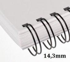 Hřbet kroužkový drátěný  3:1, 14,3mm, černý,       pro 101-120listů, 1ks/100