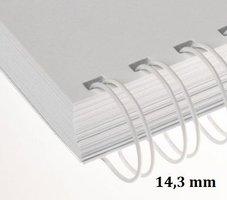 Hřbet kroužkový drátěný  3:1,14,3mm, bílý                 pro 101-120listů, 1ks/100