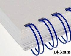 Hřbet kroužkový drátěný  3:1, 14.3mm, modrý          pro 101-120listů, 1ks/100