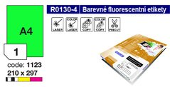 Etikety RAYFILM,A4/100lst(1) 210x297mm,zelené fluo laser/copy R0130.1123A