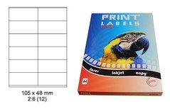 Etikety Print Emy 105x48 mm, bílé, 12ks/arch, 100 archů, samolepící