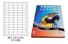 Etikety Print Emy 38,1x21,2mm, bílé, 65ks/arch, 100 archů, samolepící