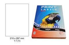 Etikety Print Emy 210x297mm, bílé 1ks/arch, 100 archů, samolepící