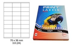 Etikety Print Emy 70x36mm, bílé, 24ks/arch, 100 archů, samolepící