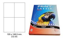 Etikety Print Emy 105x148,5mm, bílé, 4ks/arch, 100 archů, samolepící