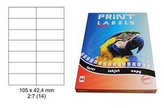 Etikety Print Emy 105x42,4mm, bílé, 14ks/arch, 100 archů, samolepící