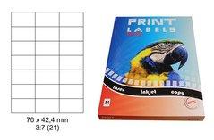 Etikety Print Emy 70x42,4mm, bílé 21ks/arch, 100 archů, samolepící
