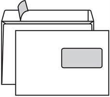 Obálka poštovní C5 162x229mm 1000ks, okénko nahoře, bílá, samolep. s páskou, rovná klopa