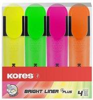 Zvýrazňovač Bright Liner, sada 4ks, 0,5-5mm, plochý, klínový hrot, KORES 36140