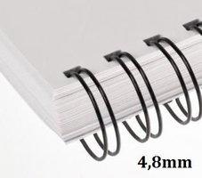 Hřbet kroužkový drátěný  3:1, 4,8mm , černý              pro 2-20listů, 1ks/100