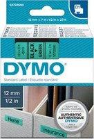 Páska DYMO D1 12mmx7m černýtisk/zelený podklad,  S0720590