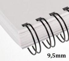 Hřbet kroužkový drátěný 3:1, 9,5mm pro 65listů, černý, min.100 ks