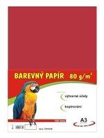 Papír A3/80g/100 červený, pro výtvarnou výchovu