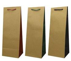 Taška dárková - KRAFT na láhev 9 x 37 x 9cm