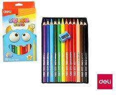 Pastelky DELI trojhranné JUMBO 12 barev Color Kids EC00600