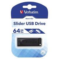 USB flash disk,Verbatim, USB 2.0, 64GB, Slider, černý, 98698, USB A, s výsuvným konektorem