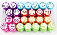 Razítko Faces dětská s motivy emoticonů, samotiskací,  průměr tisku cca 2 cm,