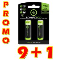 Nabíjecí baterie, AA (HR6), 1.2V, 2500mAh, Powerton, box, 10x2-pack, PROMO 2-pack 9+1 (18+2 ks)