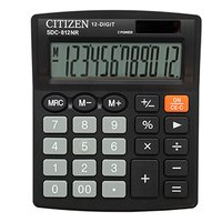 Citizen Kalkulačka SDC812NR, černá, stolní, dvanáctimístná, duální napájení