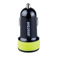 Avacom nabíječka do auta se dvěma USB výstupy 5V/1A - 3.1A, černo-zelená
