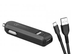 Avacom, USB auto nabíječka, CarMAX 2, 12V, 2000mA, černá, Qualcomm Quick Charge 2.0, micro USB kabel