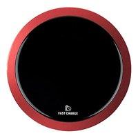 All New, Bezdrátová nabíječka, ultra tenká, pro telefon, červená, 5/9V, 10W, ochrana proti přehřátí,