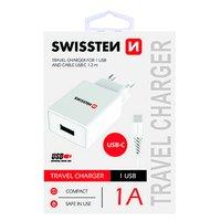 SWISSTEN, Síťový adaptér, s USB-C kabelem, 100-240V, 5V, 1000mA, nabíjení mobilních telefonů aj., bí