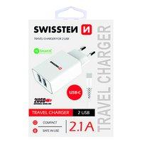 SWISSTEN, Síťový adaptér, s USB-C kabelem, 100-240V, 5V, 2100mA, nabíjení mobilních telefonů aj., bí