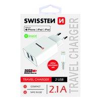 SWISSTEN, Síťový adaptér, s Lightning kabelem (MFi certifikace), 100-240V, 5V, 2100mA, nabíjení mobi