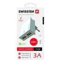 SWISSTEN, Síťový adaptér, s USB-C kabelem, 100-240V, 5V, 3000mA, nabíjení mobilních telefonů aj., bí