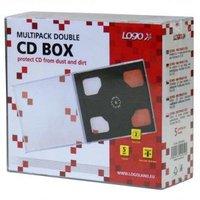 Box na 2 ks CD, průhledný, černý tray, Logo, 10,4 mm, 5-pack