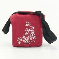 Taška na kameru, polyester, červená, Flower, suchý zip, 17x18x10 s popruhem přes rameno, Logo
