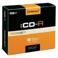 Intenso CD-R, 1001622, 10-pack, 700MB, 80min., 12cm, bez možnosti potisku, slim case, Standard, pro