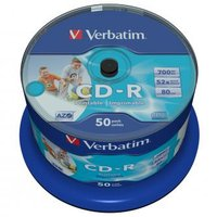 Verbatim CD-R, 43438, DataLife PLUS, 50-pack, 700MB, Azo, 52x, 80min., 12cm, Inkjet, Wide Printable-