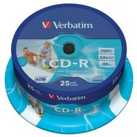 Verbatim CD-R, 43439, DataLife PLUS, 25-pack, 700MB, Super Azo, 52x, 80min., 12cm, Printable, cake b