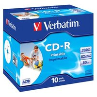 Verbatim CD-R, 43325, DataLife PLUS, 10-pack, 700MB, Super Azo, 52x, 80min., 12cm, Wide Printable, j