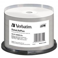 Verbatim CD-R, 43745, DataLife PLUS, 50-pack, 700MB, 52X, Professional, 80min., 12cm, Wide Inkjet Pr