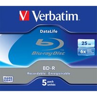 Verbatim BD-R, Datalife, 25GB, jewel box, 43836, 6x, 5-pack