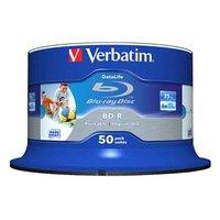 Verbatim BD-R SL, Hard Coat protective layer Wide Inkjet Printable, 25GB, Spindle, 43812, 6x, 50-pac