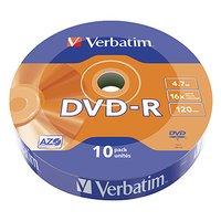 Verbatim DVD-R, 43729, DataLife, 10-pack, 4.7GB, 16x, 12cm, Matt Silver, wrap, Azo+, pro archivaci d