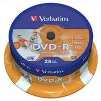 Verbatim DVD-R, 43538, DataLife PLUS, 25-pack, 4.7GB, 16x, 12cm, General, Advanced Azo+, cake box, W