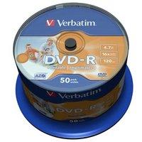Verbatim DVD-R, 43533, DataLife PLUS, 50-pack, 4.7GB, 16x, 12cm, General, Advanced Azo+, cake box, W