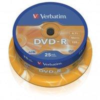 Verbatim DVD-R, 43522, DataLife PLUS, 25-pack, 4.7GB, 16x, 12cm, General, Advanced Azo+, cake box, S