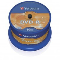 Verbatim DVD-R, 43548, DataLife PLUS, 50-pack, 4.7GB, 16x, 12cm, General, Advanced Azo+, cake box, S